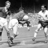 Sport, Football, pic: 3rd 1958, FA, Cup Final at Wembley, Bolton Wanderers 2 v Manchester United 0, Manchester United goalkeeper Harry Gregg rushes out to grab the ball watched by team-mate Stan Crowther, left, as Bolton Wanderers centre forward Nat Lofth
