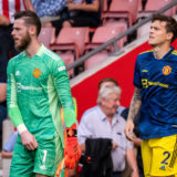 SOUTHAMPTON, ENGLAND - AUGUST 22:  David de Gea and Victor Lindelof of Manchester United walk out to the pitch prior to the Premier League match between Southampton and  Manchester United at St Mary's Stadium on August 22, 2021 in Southampton, England. (Photo by Ash Donelon/Manchester United via Getty Images)