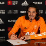 MANCHESTER, ENGLAND - MAY 10: (EXCLUSIVE COVERAGE) Edinson Cavani of Manchester United poses after signing a contract extension at Aon Training Complex on May 10, 2021 in Manchester, England. (Photo by Ash Donelon/Manchester United via Getty Images)