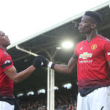 LONDON, ENGLAND - FEBRUARY 09: Paul Pogba of Manchester United celebrates scoring their first goal during the Premier League match between Fulham FC and Manchester United at Craven Cottage on February 09, 2019 in London, United Kingdom. (Photo by Matthew Peters/Manchester United via Getty Images)