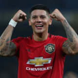 LONDON, ENGLAND - OCTOBER 30: Marcos Rojo of Manchester United celebrates after the Carabao Cup Round of 16 match between Chelsea FC and Manchester United at Stamford Bridge on October 30, 2019 in London, England. (Photo by Matthew Peters/Manchester United via Getty Images)