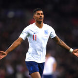 LONDON, ENGLAND - NOVEMBER 14: Marcus Rashford of England celebrates after scoring his sides fourth goal  during the UEFA Euro 2020 qualifier between England and Montenegro at Wembley Stadium on November 14, 2019 in London, England. (Photo by Laurence Griffiths/Getty Images)