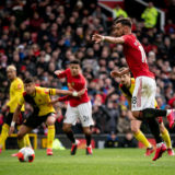 MANCHESTER, ENGLAND - FEBRUARY 23: Bruno Fernandes of Manchester United scores their first goal during the Premier League match between Manchester United and Watford FC at Old Trafford on February 23, 2020 in Manchester, United Kingdom. (Photo by Ash Donelon/Manchester United via Getty Images)