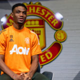 MANCHESTER, ENGLAND - JANUARY 13:  Amad Diallo of Manchester United is interviewed on his first day at Aon Training Complex on January 13, 2021 in Manchester, England. (Photo by Ash Donelon/Manchester United via Getty Images)