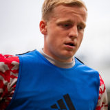 MANCHESTER, ENGLAND - AUGUST 07:   Donny van de Beek of Manchester United warms up prior to the pre-season friendly match between Manchester United and Everton at Old Trafford on August 7, 2021 in Manchester, England. (Photo by Ash Donelon/Manchester United via Getty Images)