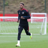 MANCHESTER, ENGLAND - AUGUST 25:  Marcus Rashford of Manchester United in action during a first team training session at Carrington Training Ground on August 25, 2021 in Manchester, England. (Photo by Matthew Peters/Manchester United via Getty Images)
