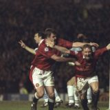 5 Mar 1997:  David May (right) and Gary Pallister celebrate after May scored the opening goal in the Champions League Quarter Final First Leg against Porto at Old Trafford, Manchester. United won 4-0.  Mandatory Credit: Shaun Botterill /Allsport