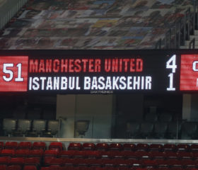 MANCHESTER, ENGLAND - NOVEMBER 24: The scoreboard shows the final score after the UEFA Champions League Group H stage match between Manchester United and İstanbul Basaksehir at Old Trafford on November 24, 2020 in Manchester, England. Sporting stadiums around the UK remain under strict restrictions due to the Coronavirus Pandemic as Government social distancing laws prohibit fans inside venues resulting in games being played behind closed doors. (Photo by Matthew Peters/Manchester United via Getty Images)