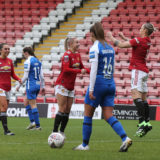 LEIGH, ENGLAND - JANUARY 24: Leah Galton of Manchester United Women celebrates scoring their first goal during the Barclays FA Women's Super League match between Manchester United Women and Birmingham City Women at Leigh Sports Village on January 24, 2021 in Leigh, England. Sporting stadiums around the UK remain under strict restrictions due to the Coronavirus Pandemic as Government social distancing laws prohibit fans inside venues resulting in games being played behind closed doors. (Photo by John Peters/Manchester United via Getty Images)