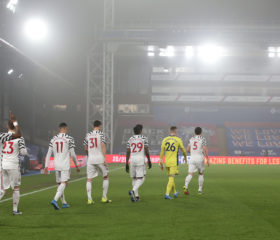 LONDON, ENGLAND - MARCH 03: The Manchester United team walk out ahead of the Premier League match between Crystal Palace and Manchester United at Selhurst Park on March 03, 2021 in London, England. Sporting stadiums around the UK remain under strict restrictions due to the Coronavirus Pandemic as Government social distancing laws prohibit fans inside venues resulting in games being played behind closed doors. (Photo by Matthew Peters/Manchester United via Getty Images)