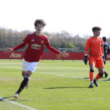 MANCHESTER, ENGLAND - APRIL 10: (EXCLUSIVE COVERAGE) Alejandro Garnacho of Manchester United U18s celebrates scoring their fourth goal during the U18 Premier League match between Manchester United U18s and Stoke City U18s at Aon Training Complex on April 10, 2021 in Manchester, England. (Photo by John Peters/Manchester United via Getty Images)
