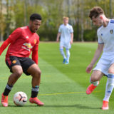 LEEDS, ENGLAND - MAY 01: Dillon Hoogewerf of Manchester United U18s in action during the U18 Premier League match between Leeds United U18s and Manchester United U18s at LU Academy on May 01, 2021 in Leeds, England. (Photo by Manchester United/Manchester United via Getty Images)