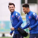 BURTON UPON TRENT, ENGLAND - JUNE 10: Ben Chilwell and Jadon Sancho of England speak during the England Training Session at St George's Park on June 10, 2021 in Burton upon Trent, England. (Photo by Catherine Ivill/Getty Images)