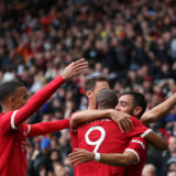MANCHESTER, ENGLAND - AUGUST 07: Bruno Fernandes of Manchester United celebrates scoring with team mates during the pre-season friendly match between Manchester United and Everton at Old Trafford on August 07, 2021 in Manchester, England. (Photo by Jan Kruger/Getty Images)