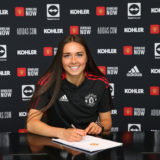 MANCHESTER, ENGLAND - AUGUST 27: (EXCLUSIVE COVERAGE) Tara Bourne of Manchester United Women poses after signing a contract with the club at Carrington Training Ground on August 27, 2021 in Manchester, England. (Photo by John Peters/Manchester United via Getty Images)