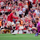 MANCHESTER, ENGLAND - SEPTEMBER 11: Cristiano Ronaldo of Manchester United scores their second goal during the Premier League match between Manchester United and Newcastle United at Old Trafford on September 11, 2021 in Manchester, England. (Photo by Ash Donelon/Manchester United via Getty Images)
