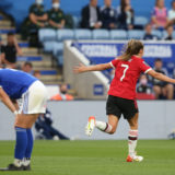 LEICESTER, ENGLAND - SEPTEMBER 12: Ella Toone of Manchester United Women celebrates scoring their first goal during the Barclays FA Women's Super League match between Leicester City Women and Manchester United Women at The King Power Stadium on September 12, 2021 in Leicester, England. (Photo by John Peters/Manchester United via Getty Images)