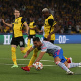 BERN, SWITZERLAND - SEPTEMBER 14: Cristiano Ronaldo of Manchester United clashes with Mohamed Ali Camara of Young Boys but no penalty is given during the UEFA Champions League group F match between BSC Young Boys and Manchester United at Stadion Wankdorf on September 14, 2021 in Bern, Switzerland. (Photo by Matthew Peters/Manchester United via Getty Images)