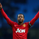 MANCHESTER, ENGLAND - DECEMBER 09:  Patrice Evra of Manchester United celebrates at the end of the Barclays Premier League match between Manchester City and Manchester United at Etihad Stadium on December 9, 2012 in Manchester, England.  (Photo by Clive Mason/Getty Images)