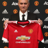 LONDON, ENGLAND - MAY 26:  (MINIMUM FEES APPLY - MINIMUM PRINT/BROADCAST FEE OF 150 GBP, ONLINE FEE OF 75 GBP, OR LOCAL EQUIVALENT)  (EXCLUSIVE COVERAGE) Jose Mourinho is unveiled as the new Manchester United Manager on May 26, 2016 in London, England.  (Photo by John Peters/Manchester United via Getty Images)