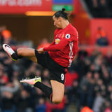 SWANSEA, WALES - NOVEMBER 06:  Zlatan Ibrahimovic of Manchester United celebrates scoring his sides second goal during the Premier League match between Swansea City and Manchester United at Liberty Stadium on November 6, 2016 in Swansea, Wales.  (Photo by Stu Forster/Getty Images)