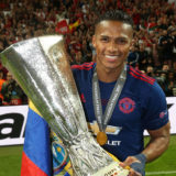 STOCKHOLM, SWEDEN - MAY 24:  Antonio Valencia of Manchester United celebrates with the Europa League trophy after the UEFA Europa League Final match between Manchester United and Ajax at Friends Arena on May 24, 2017 in Stockholm, Sweden.  (Photo by John Peters/Manchester United via Getty Images)