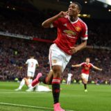 File photo dated 12-09-2015 of Manchester United's Anthony Martial celebrates scoring his side's third goal of the game during the Barclays Premier League match at Old Trafford, Manchester. PRESS ASSOCIATION Photo. Issue date: Tuesday December 15, 2015. Anthony Martial wasted no time in writing himself into Manchester United folklore as he stepped off the bench to score a stunning debut goal in a 3-1 victory over Liverpool and goals from Theo Walcott and Olivier Giroud earned Arsenal a 2-0 win over Stoke.  See PA story SPORT Christmas September. Photo credit should read Martin Rickett/PA Wire.