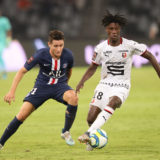 SHENZHEN, CHINA - AUGUST 03:  Ander Herrera (L) of Paris Saint-Germain competes the ball with Eduardo Camavinga (R) of Stade Rennais FC during to the 2019 Trophee des Champions between Paris saint-Germain and Stade Rennais FC at Shenzhen Uniersiade Sports Center on August 3, 2019 in Shenzhen, China.  (Photo by Lintao Zhang/Getty Images)