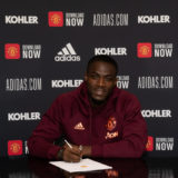 MANCHESTER, ENGLAND - APRIL 26: (EXCLUSIVE COVERAGE) Eric Bailly of Manchester United poses after signing a contract extension at Aon Training Complex on April 26, 2021 in Manchester, England. (Photo by Ash Donelon/Manchester United via Getty Images)