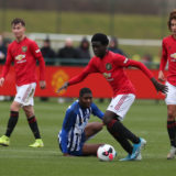 MANCHESTER, ENGLAND - NOVEMBER 23: Omari Forson of Manchester United U18s in action during the U18 Premier League match between Manchester United U18s and Brighton and Hove Albion U18s at Aon Training Complex on November 23, 2019 in Manchester, England. (Photo by Matthew Peters/Manchester United via Getty Images)