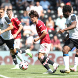 DERBY, ENGLAND - JULY 18: Facundo Pellistri of Manchester United in action during the pre-season friendly match between Derby County and Manchester United at Pride Park on July 18, 2021 in Derby, England. (Photo by Matthew Peters/Manchester United via Getty Images)