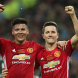 Marcos Rojo of Manchester United and Ander Herrera of Manchester United celebrate the win during the English Football League Cup Final  match at the Wembley Stadium, London. Picture date: February 26th, 2017.Pic credit should read: David Klein/Sportimage via PA Images