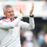 LONDON, ENGLAND - JULY 24: Manager Ole Gunnar Solskjaer of Manchester United salutes the fans after the pre-season friendly match between Queens Park Rangers and Manchester United at The Kiyan Prince Foundation Stadium on July 24, 2021 in London, England. (Photo by Matthew Peters/Manchester United via Getty Images)