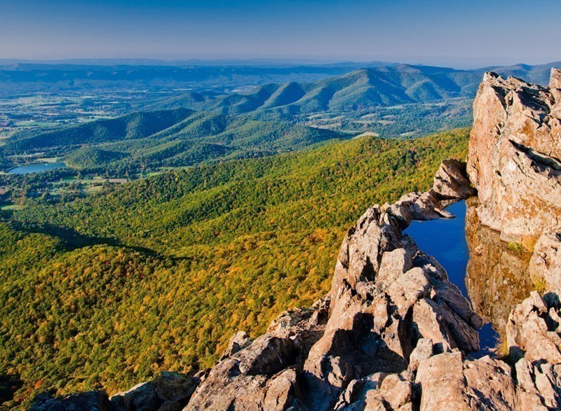 View of the Shenandoah Valley and Blue Ridge Mountains from Little Stony Man Cliffs, Shenandoah National Park, Virginia | 7 National Parks with the Most Scenic Drives