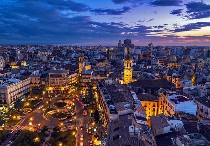 Aerial view of Valencia at sunset | 10 Best Places to Visit in Spain