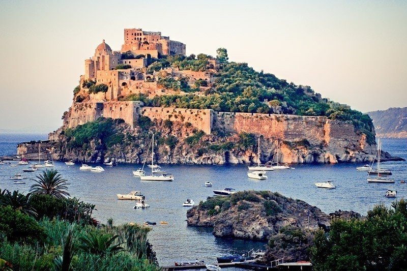Amazing View of Aragonese castle at sunset, Ischia