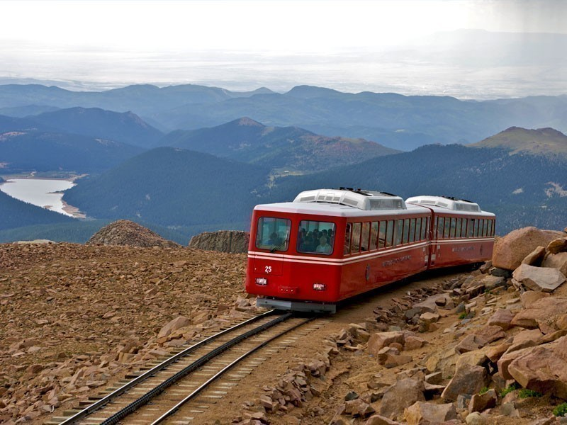 Railway on Pikes Peak, Colorado, one of the most visited mountains in the world | 10 Best Places To Visit In Colorado