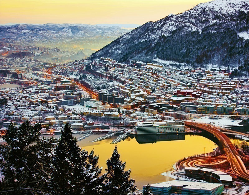 """Stunning view of Bergen, Norway, the inspiration of """"Frozen""""movie 