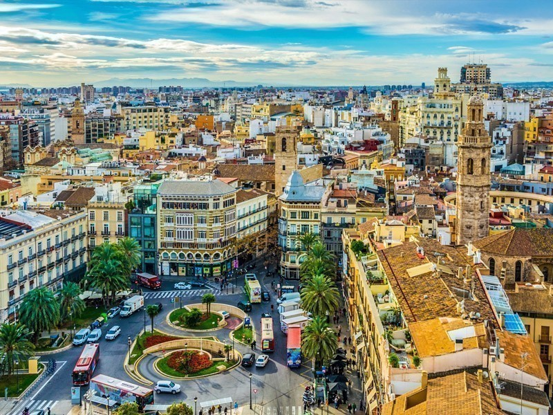 Beautiful aerial view of Plaza de la Reina Square and Saint Mary's Cathedral situated in Valencia, Spain | What to Do in Valencia in 3 Days