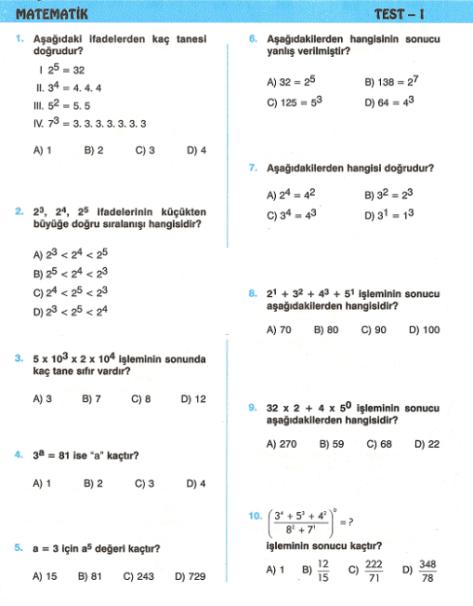 8 Sınıf üslü Sayılar Test 1