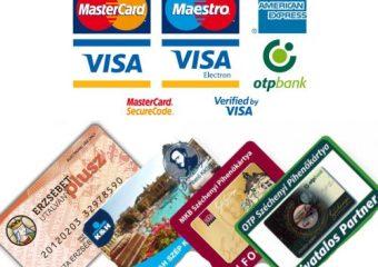 Bankkártyák,szép kártya CSAK a vendéglátás részét fogadjuk!