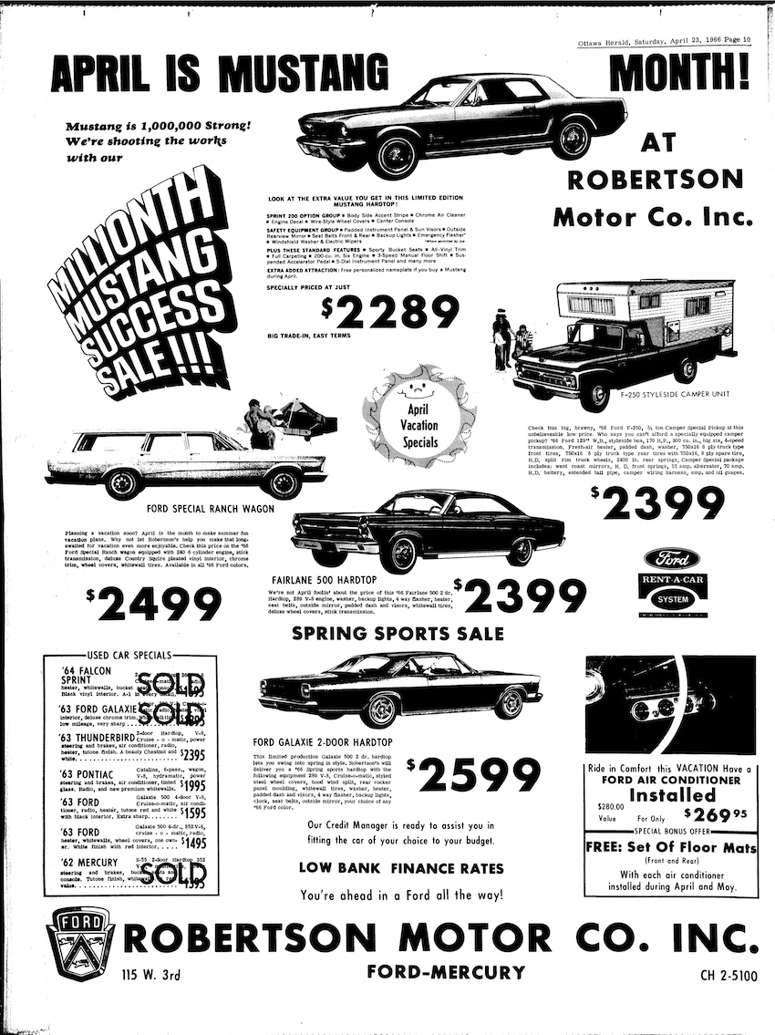 1966 Ford Mustang Millionth Anniversary Sale
