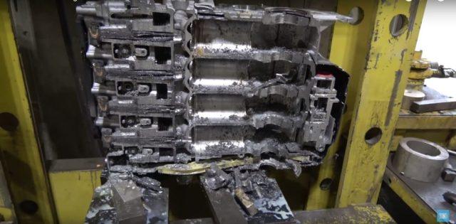 Engine cut in half
