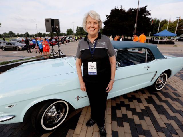 Gail Wise with her 1964 1/2 Ford Mustang.