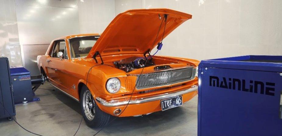 1965 Mustang on Hub Dyno