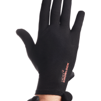 Photograph of a hand wearing the HeiQ Viroblock Antimicrobial black gloves. The words HeiQ Viroblock are written small in red on the back of the glove.