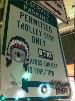 A trolly stop in Cambridge, MA. I just don't know what's going on with that Koala in the headdress.
