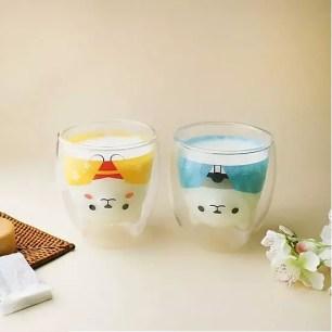 耐熱雙層構造的可愛玻璃杯「和服柴犬 友好對杯組(櫻)」限量販售