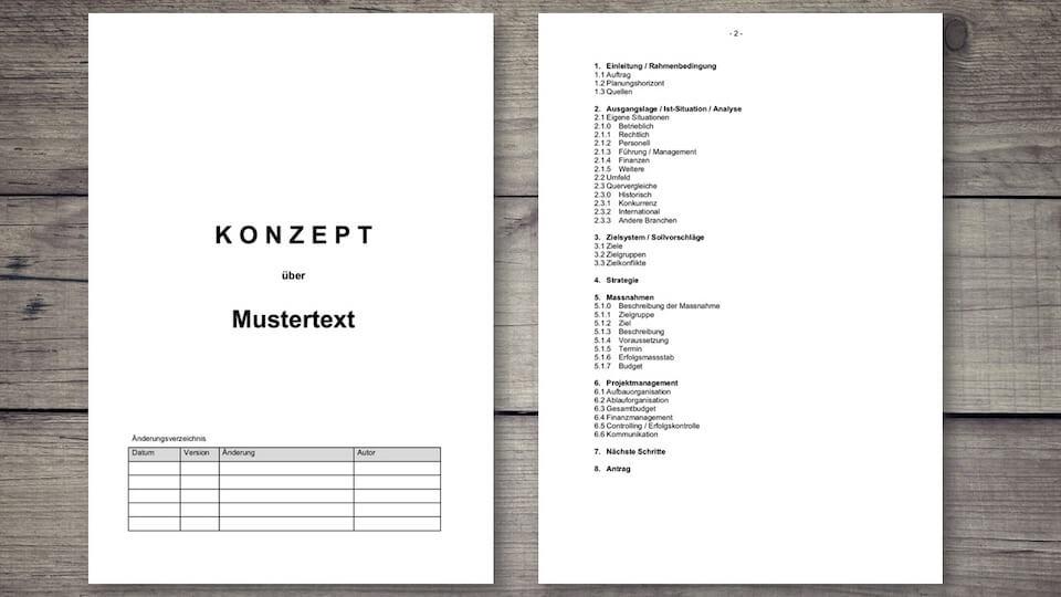 Konzept Vorlage im WordFormat  MusterVorlagech