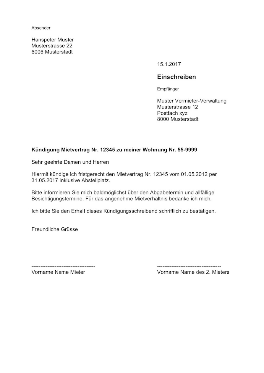 Kndigung Wohnung Mietvertrag Vorlage  MusterVorlagech